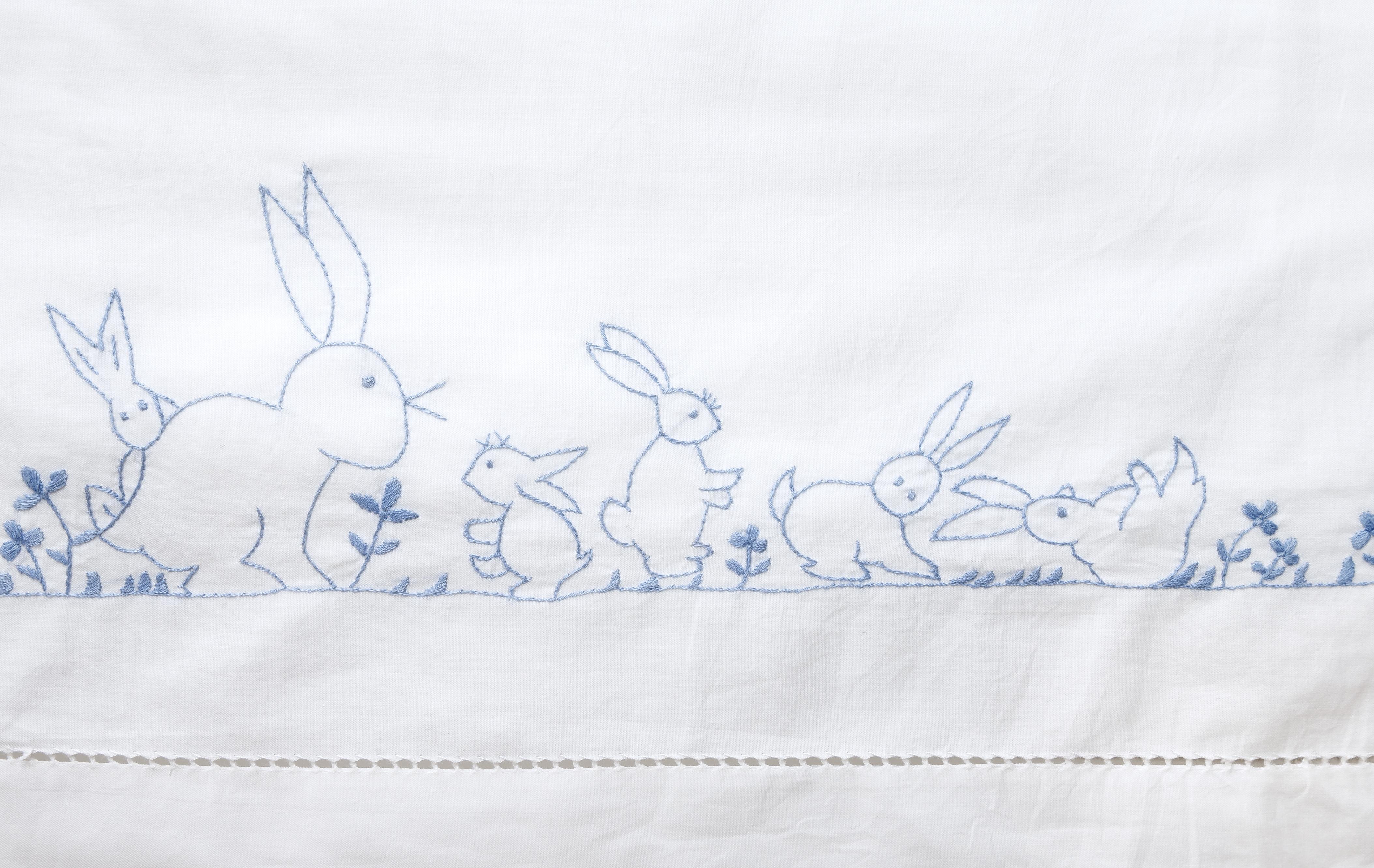 Blue Bunnies Cot Sheet Set
