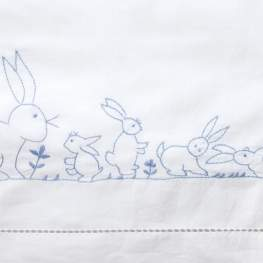 Blue Bunnies Cot Sheet Set