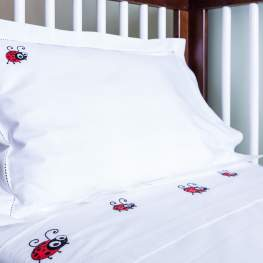 Lady Bug Cot Sheet Set