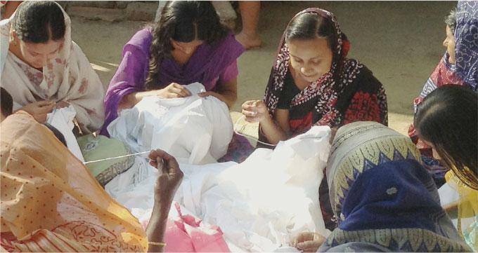 Women working on cloth