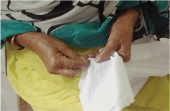 A woman working on cloth